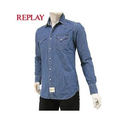 LAST1/Sサイズ/リプレイ/REPLAY メンズ デニムシャツ M4023 26C614/ウォッシュブルー/009/セール/SFS