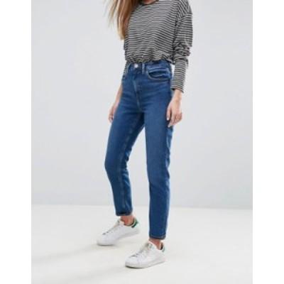エイソス レディース デニムパンツ ボトムス ASOS DESIGN Farleigh high waist slim mom jeans in dark wash Blossom darkwash