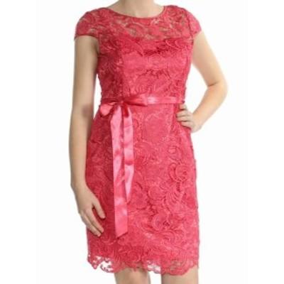 Adrianna Papell アドリアーナ パペル ファッション ドレス Adrianna Papell NEW Pink Womens Size 6 Illusion Lace Sheath Dress