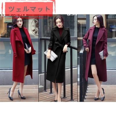 コート チェスターコート レディース トレンチコート アウター 大きいサイズ 厚手 ウール混 秋冬 韓国風 オフィス ファッション 3色