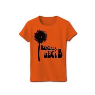 踊る!ネギ坊主(黒) リブクルーネックTシャツ(オレンジ)