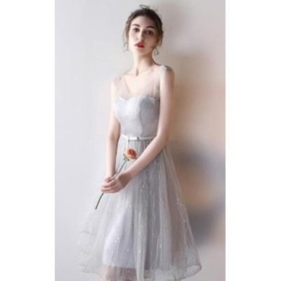ブライズメイド ドレス カラー ワンピース Vネック 結婚式パーディ- 花嫁 ドレス ミディアム丈 ミモレ丈 フォーマル ベージュ ミ