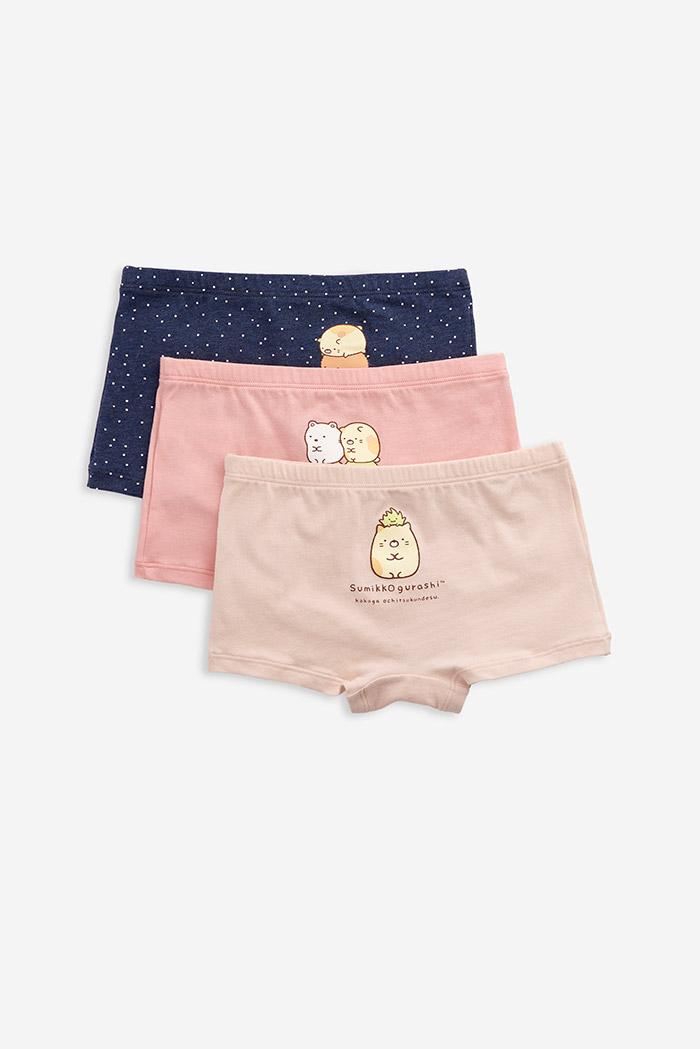 (女童三入組)角落小夥伴系列.舒適平口內褲(麻藍點/粉色/淺粉)