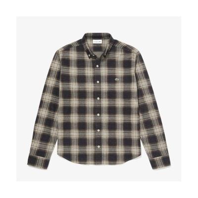 【ラコステ】 チェックジャカードニットシャツ メンズ ブラック 4(日本サイズL) LACOSTE