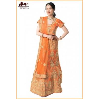 送料無料 パーティードレス コスプレ ウェディングドレス (1点物)インドのレヘンガドレスセット オレンジ