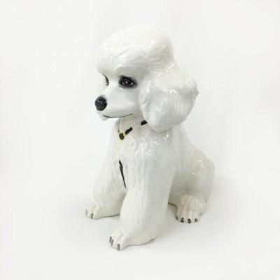 【中古】置物 白い犬 オブジェ インテリア アンティーク 陶器製