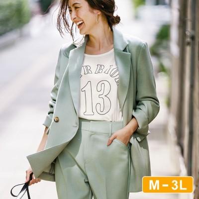 Ranan 【M~3L】ダブルテーラードジャケット グリーン M レディース