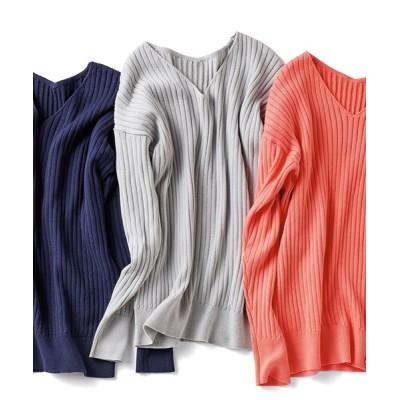 ニット IEDIT 抗菌防臭がうれしい 綿100%が肌に心地よい シンプルきれいなニット