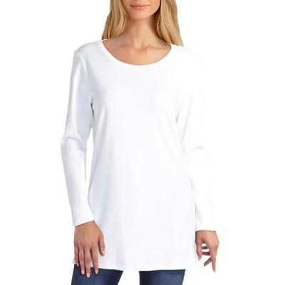 イザックミズラヒ レディース カットソー トップス Long Sleeve Scoop Neck Pullover WHITE