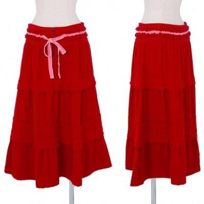 トリコ コムデギャルソンtricot COMME des GARCONS ウール製品染めフリル切替スカート 赤M 【レディース】