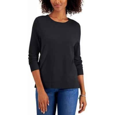 スタイル&コー Style & Co レディース ニット・セーター トップス Petite Crewneck Sweater Deep Black