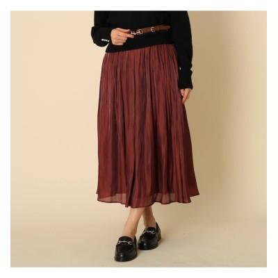 【クチュール ブローチ/Couture brooch】 【手洗い可】オーロラサテンプリーツスカート
