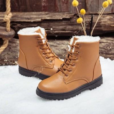 スノーブーツ ショートブーツ レディース ブーツ ムートンブーツ 裏ボア 女性用 短靴 シューズ ローヒール 雪対応 防寒 防寒 防水 保温 滑り止め ダウンブーツ