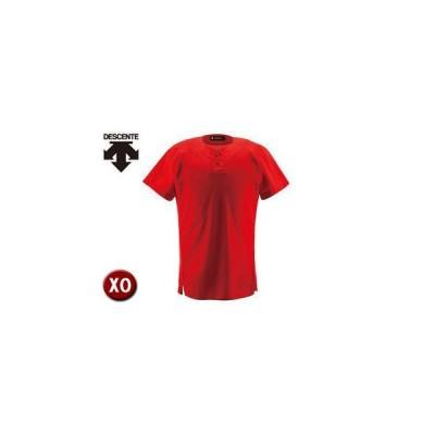 DESCENTE/デサント  DB1012-RED ユニフォームシャツ ハーフボタンシャツ 【XO】 (レッド)