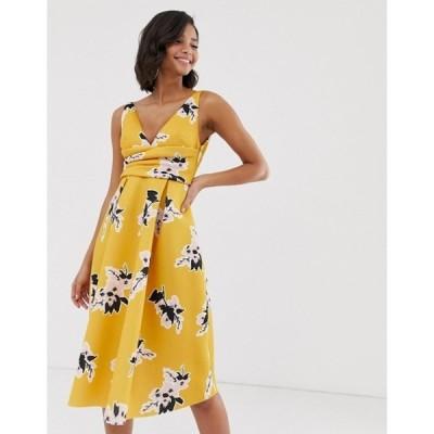 エイソス レディース ワンピース トップス ASOS DESIGN floral prom midi dress with wrap waist detail