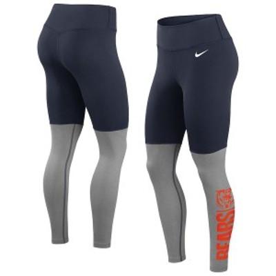 ナイキ レディース カジュアルパンツ ボトムス Chicago Bears Nike Women's Logo Stack Performance Leggings Navy/Heathered Charcoal