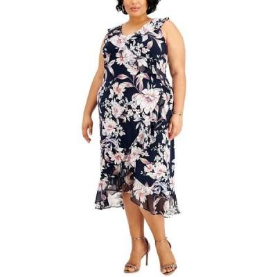 コネクテッド ワンピース トップス レディース Plus Size Floral-Print Midi Dress Navy