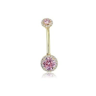 特別価格AVORA 10K Yellow Gold Pink Simulated Diamond CZ Halo Belly Button Ring Body好評販売中