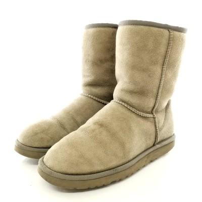 送料無料 アグ オーストラリア ムートンブーツ ショート 靴 シューズ クラシック ショート 5825 スエード W7 24cm相当 灰系 レディース