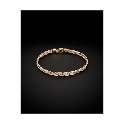 レディース アクセサリー  14K Italian Gold Tri-Tone Sparkle Textured Mirror Bracelet