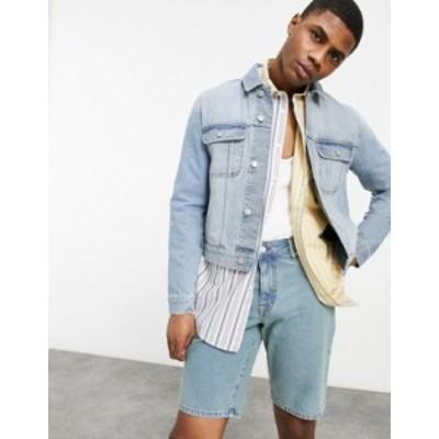 エイソス メンズ ジャケット・ブルゾン アウター ASOS DESIGN cropped denim jacket in mid wash blue Blues