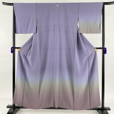 付下げ 美品 秀品 一つ紋 ぼかし 縮緬 紫 袷 身丈156cm 裄丈65cm M 正絹 中古
