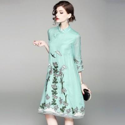 ドレスワンピース グリーン ピンク ひざ丈 七分袖 刺繍 透け感 結婚式 パーティー お呼ばれ 20代 30代 40代 秋冬