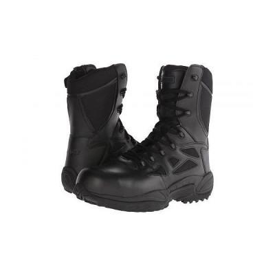 """Reebok Work リーボック メンズ 男性用 シューズ 靴 ブーツ ワークブーツ Rapid Response RB 8"""" Soft Toe - Black"""
