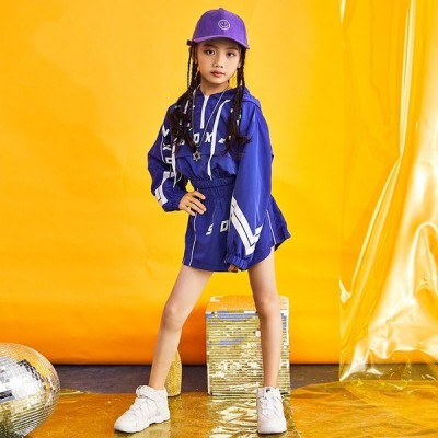 キッズダンス衣装 ヒップホップ 子供 ダンスパンツ  パーカー ダンクトップ 子供ズボン ジャズ ダンス HIPHOP ダンス 衣装 キッズ 青色