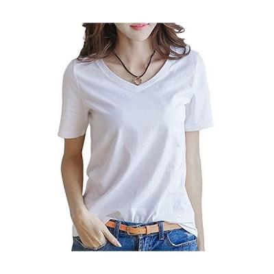 半袖 Tシャツ レディース トップス 無地 カットソー Vネック きれいめ シンプル 薄手 おしゃれ S〜XL (黒・白・黄色・グレー・レッド)(アブ