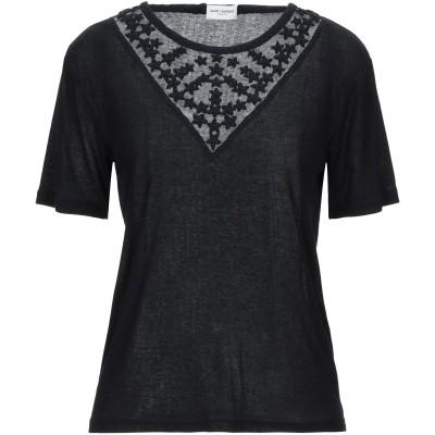 SAINT LAURENT T シャツ ブラック S レーヨン 52% / コットン 48% / ガラス T シャツ