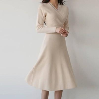 ドレス ワンピース カシュクール 大きいサイズ S~XL Aライン 長袖 無地 ひざ下丈 シンプル ワンピ レディース