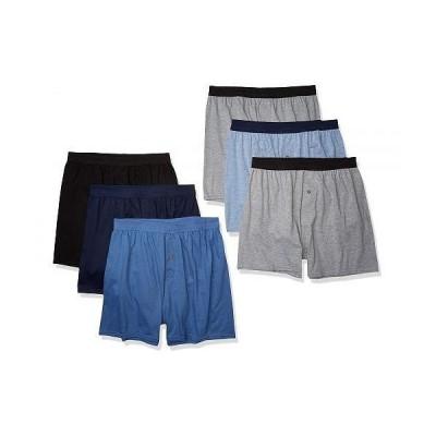 Hanes ヘインズ メンズ 男性用 ファッション 下着 Hanes Men's Knit Boxers, 6 Pack - Assorted - 6 Pack
