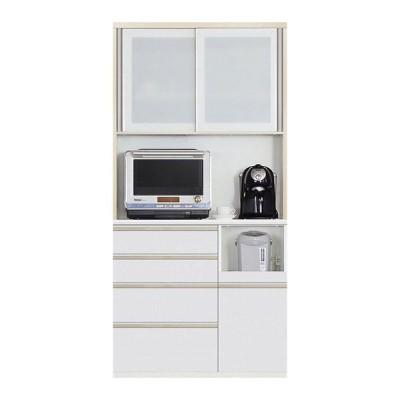 食器棚 引き戸 キッチン収納 キッチンボード レンジ台 日本製 ダイニングボード Nサイゼスト 100 W (配送員設置)