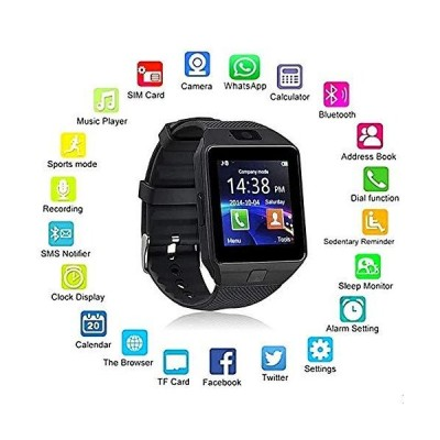 OfferFamily 007 Fitness Smartwatch - Touch Screen + Bluetooth Enabled + Camera + Pedometer - iOS & Android (Midnight Black)