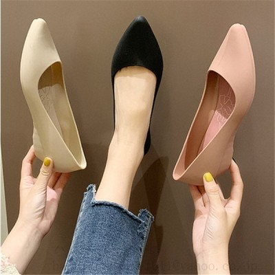レインブーツ レディース 梅雨対策パンプス ぺたんこ 女性用シューズ 歩きやすい ポインテッドトゥ ウェッジソール  ローヒール Vカット靴