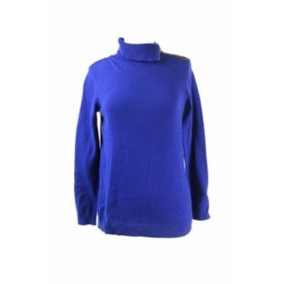 ファッション トップス Charter Club Blue Ribbed-Knit Zip Envelope Neck Sweater Regular