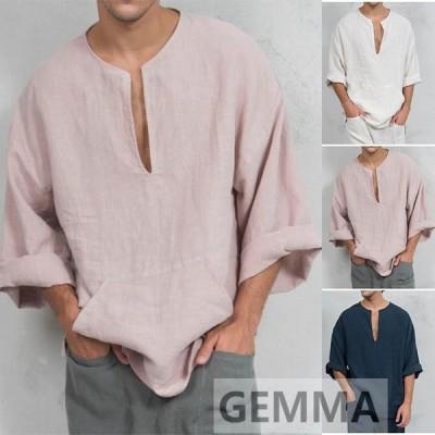 Tシャツ メンズ トップス リネンシャツ 長袖 夏物 tシャツ メンズTシャツ 麻 カジュアル おしゃれ 中東風 トップス 無地 ゆったり