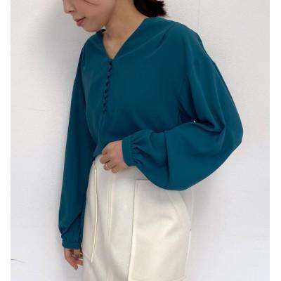 【ラウンジドレス/Loungedress】 ボリューム袖くるみボタンブラウス
