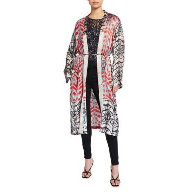 ロイドフォード レディース ジャケット・ブルゾン アウター Mix Print Long-Sleeve Silk Kimono