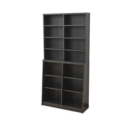 山善 本棚 幅90*奥行29*高さ180cm 大容量 安定感のある2段構え 棚板可動 壁面 収納 組立品 ダークブラウン SCOR-1890(D