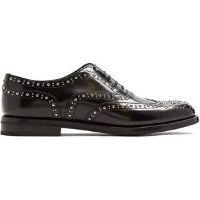 チャーチ Churchs レディース ローファー・オックスフォード メダリオン シューズ・靴 Burwood stud-embellished leather brogues Black