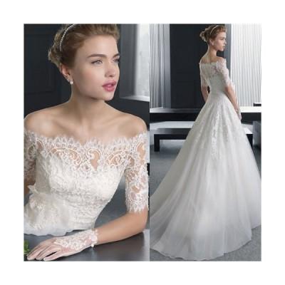 XS/S/M/L/XL/2XL/3XL 豪華な ウェディングドレス ロングドレス トレーンドレス プリンセスドレス トレーンドレス 5分袖 da225c0c0m2