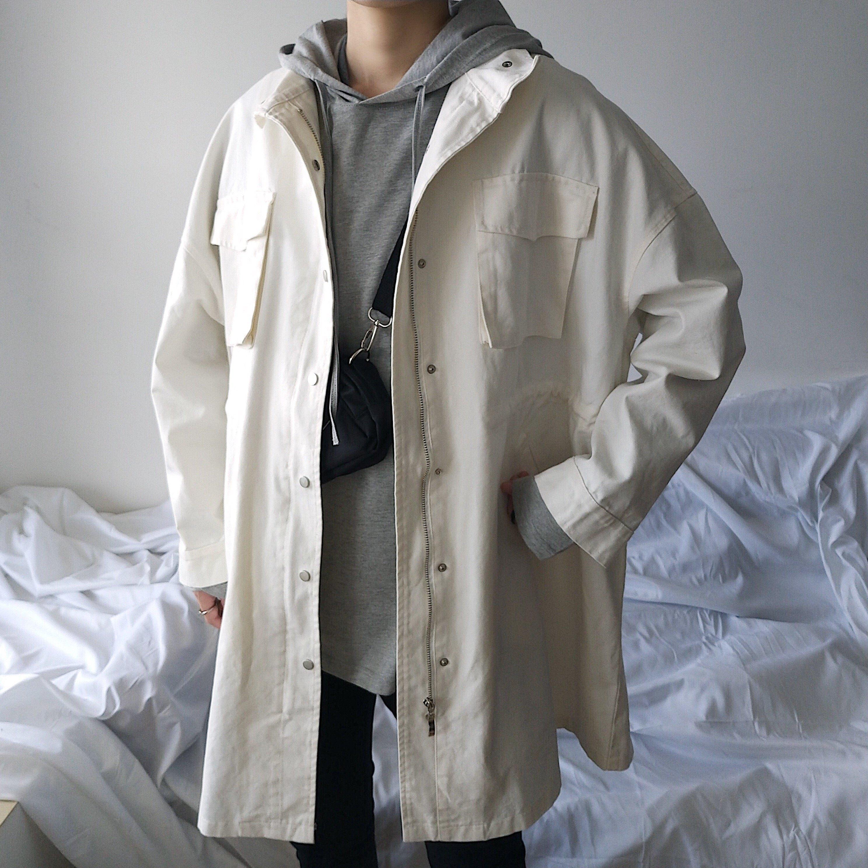 FINDSENSE品牌 質感  好料質 長版外搭 口袋 上衣 風衣 長版透氣 外套