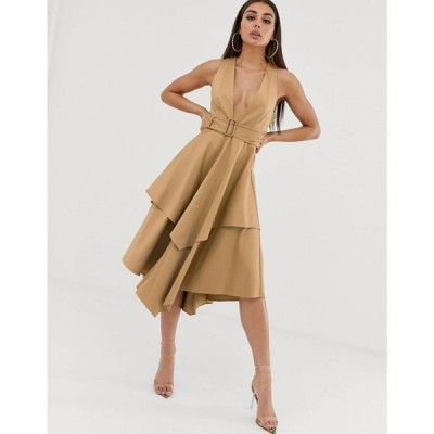 エイソス ASOS DESIGN レディース ワンピース ワンピース・ドレス plunge front structured midi dress with layered skirt and belt Gold