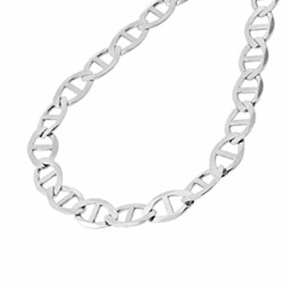 Verona Jewelers 925 Sterling Silver 3.5MM, 4.5MM, 5.5MM, 6.5MM, 8MM Solid Flat Mariner Link Chain Necklace- Sterling Silver Neck