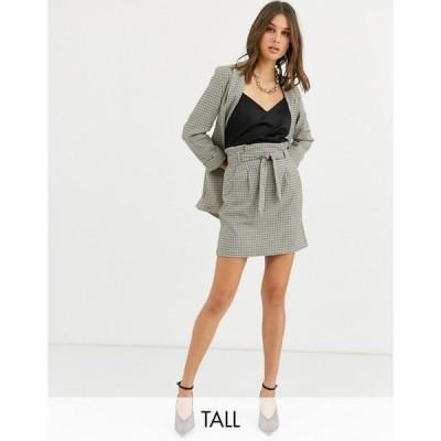 ニュールック レディース スカート ボトムス New Look Tall check skirt in black pattern