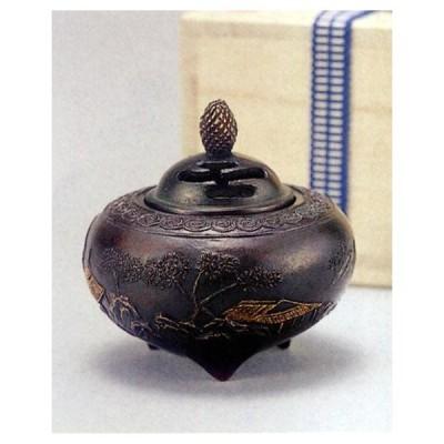 香炉  香立て 山水香炉 芳親作 蝋型青銅(ブロンズ)製 桐箱入り 高岡銅器 置物 