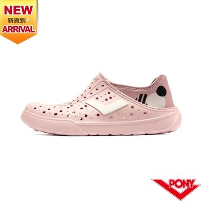 【PONY】ENJOY洞洞鞋 踩後跟 雨鞋 水鞋 中性款-色塊/粉