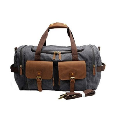 Kemy's Canvas Duffle Bag for Mens Oversized Overnight Bag Weekend Duffel Weekender Travel Bags Leather Doufle Gym Carryon Airplanes Carry On